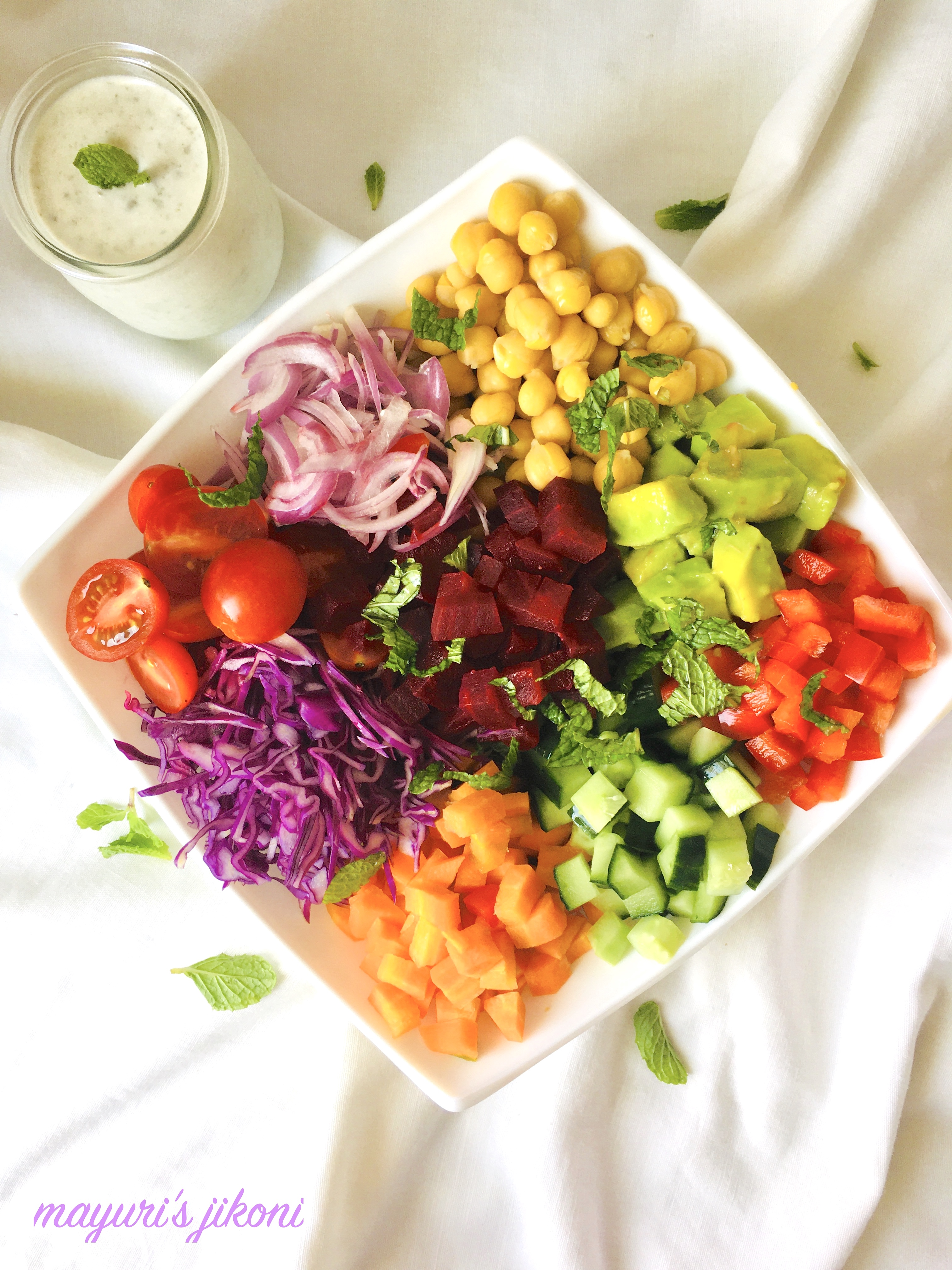 Rainbow Salad Bowl Mayuri S Jikoni Avocado Beetroot Carrot Chickpeas Cucumber Gluten Free Healthy Meal Red Cabbage Salad Salad Bowl Salad Dressing Salad Green Satvik Option Tomato Vegan Option Yogurt Za Atar